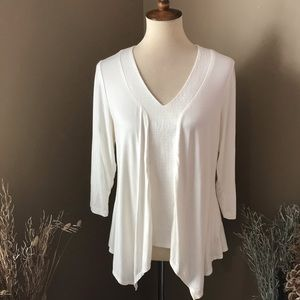 Adrianna Papell Cream Asymmetrical Knit Top